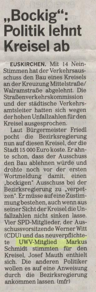 Bockig - Politik lehnt Kreisel ab - Rundschau
