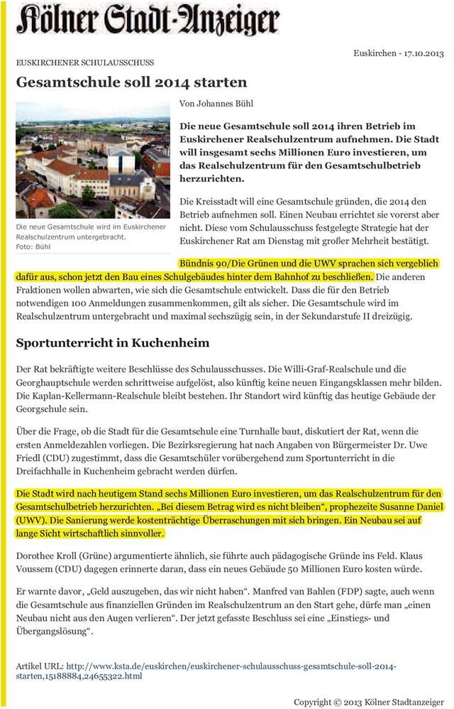 Gesamtschule soll 2014 starten - KSTA