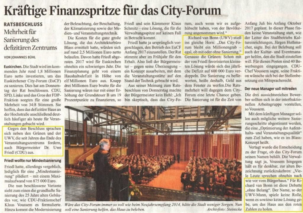 Kraeftige Finanzspritze für das City-Forum - KSTA