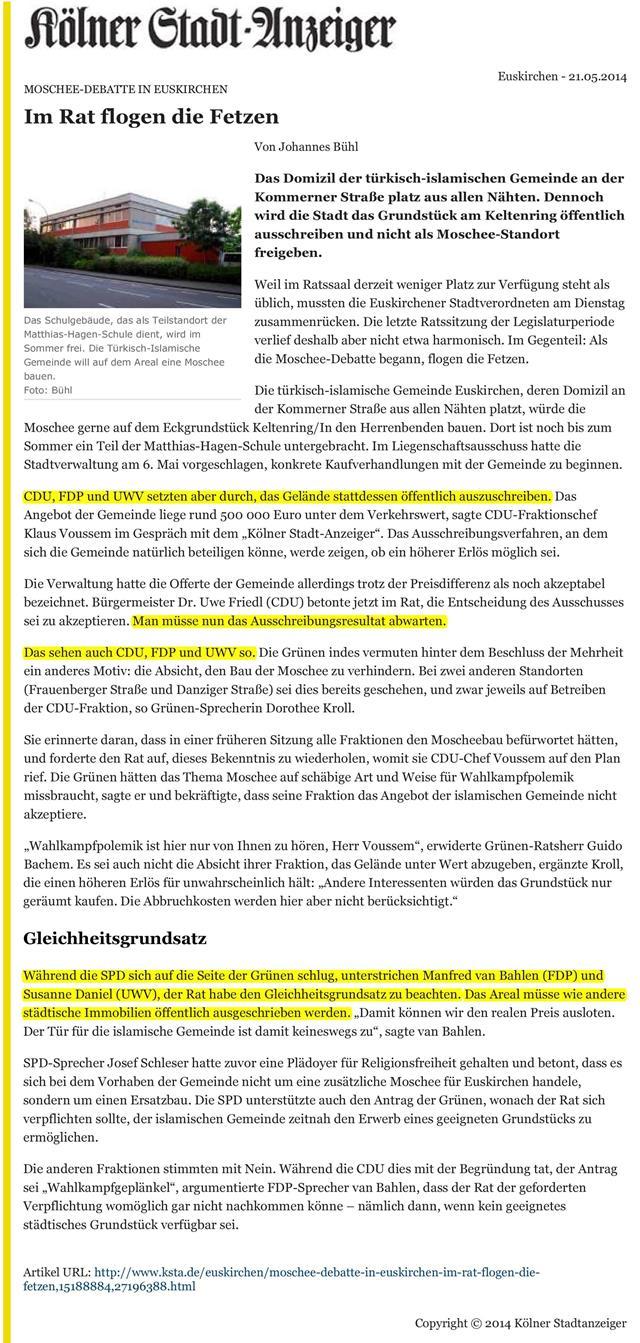 Moschee-Debatte in Euskirchen - KSTA