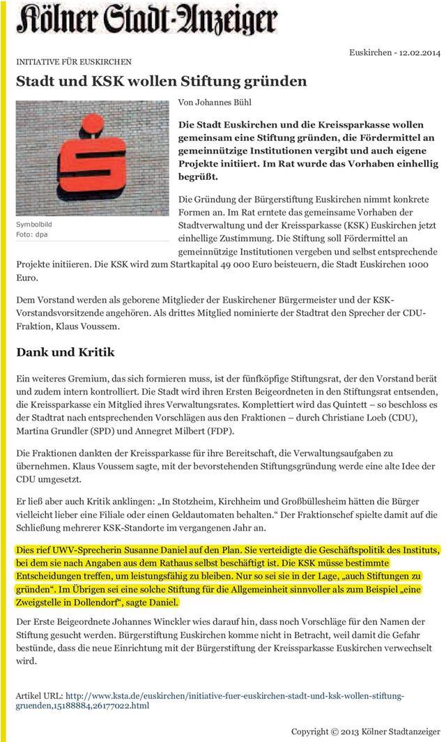 Stadt und KSK wollen Stiftung gründen - KSTA
