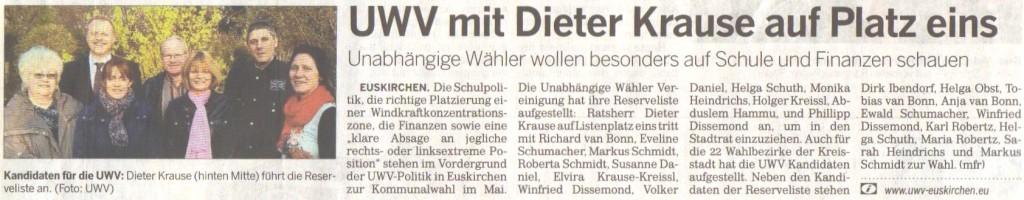 UWV Wahl-Pressebericht 2014