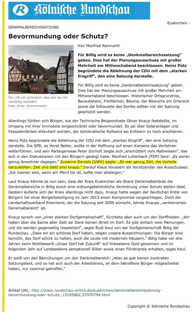 Denkmalbereichssatzung - Rundschau