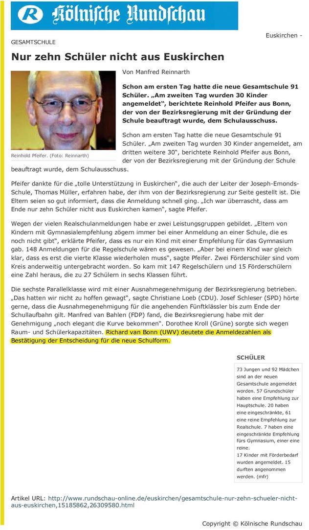 Nur zehn Schüler nicht aus Euskirchen - Rundschau