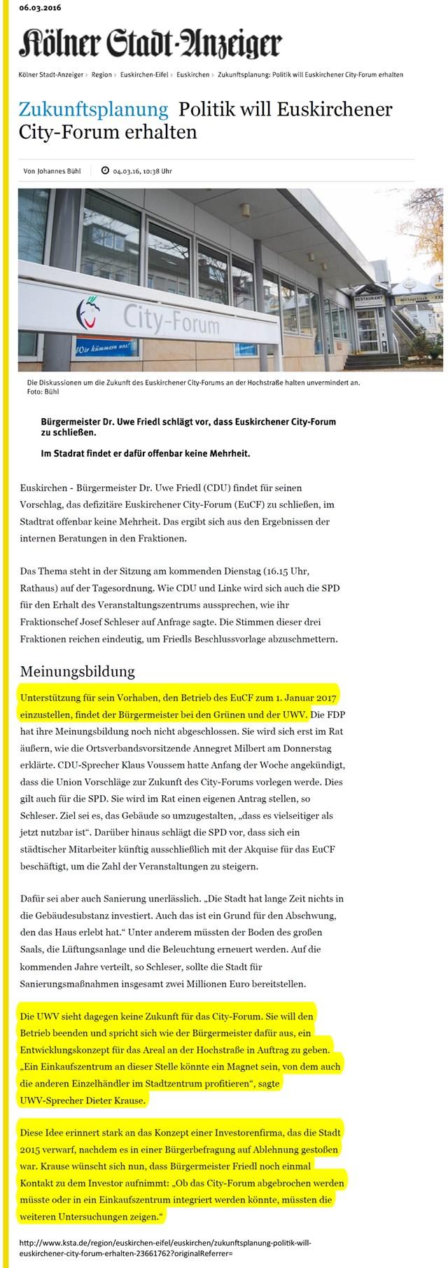 Politik will Euskirchener City-Forum erhalten - KSTA