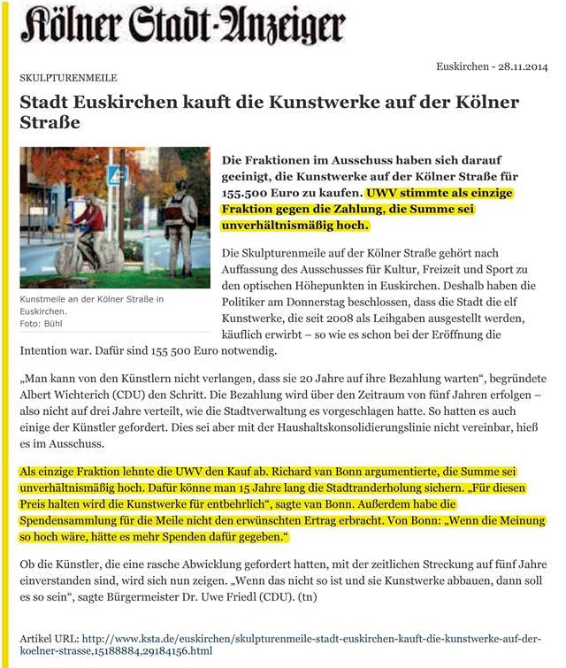 Stadt kauft die Kunstwerke auf der Kölner Straße - KSTA - UWV dagegen