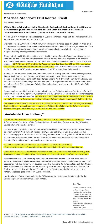Abstimmungsverhalten CDU kontra Friedl - Rundschau