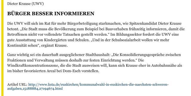 Dieter Krause UWV Wahl 2014
