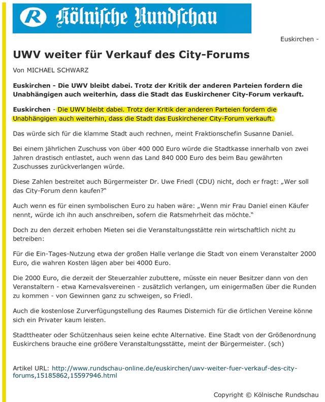 UWV weiter für Verkauf des City-Forums - Rundschau - 22.02.2008