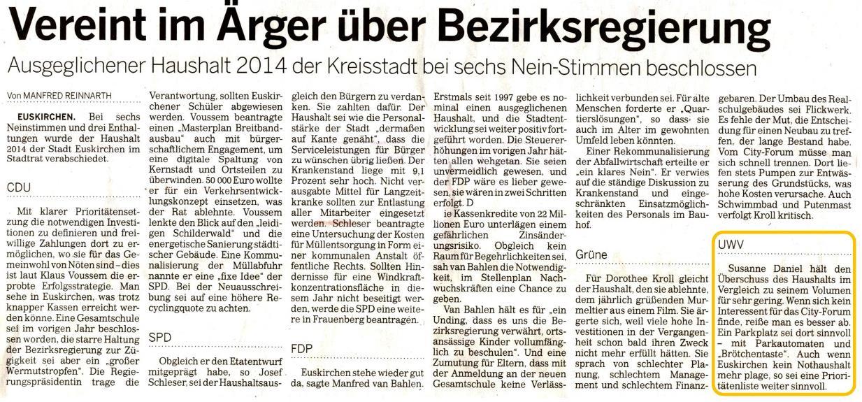 Vereint im Ärger über Bezirksregierung - Rundschau 08.02.14