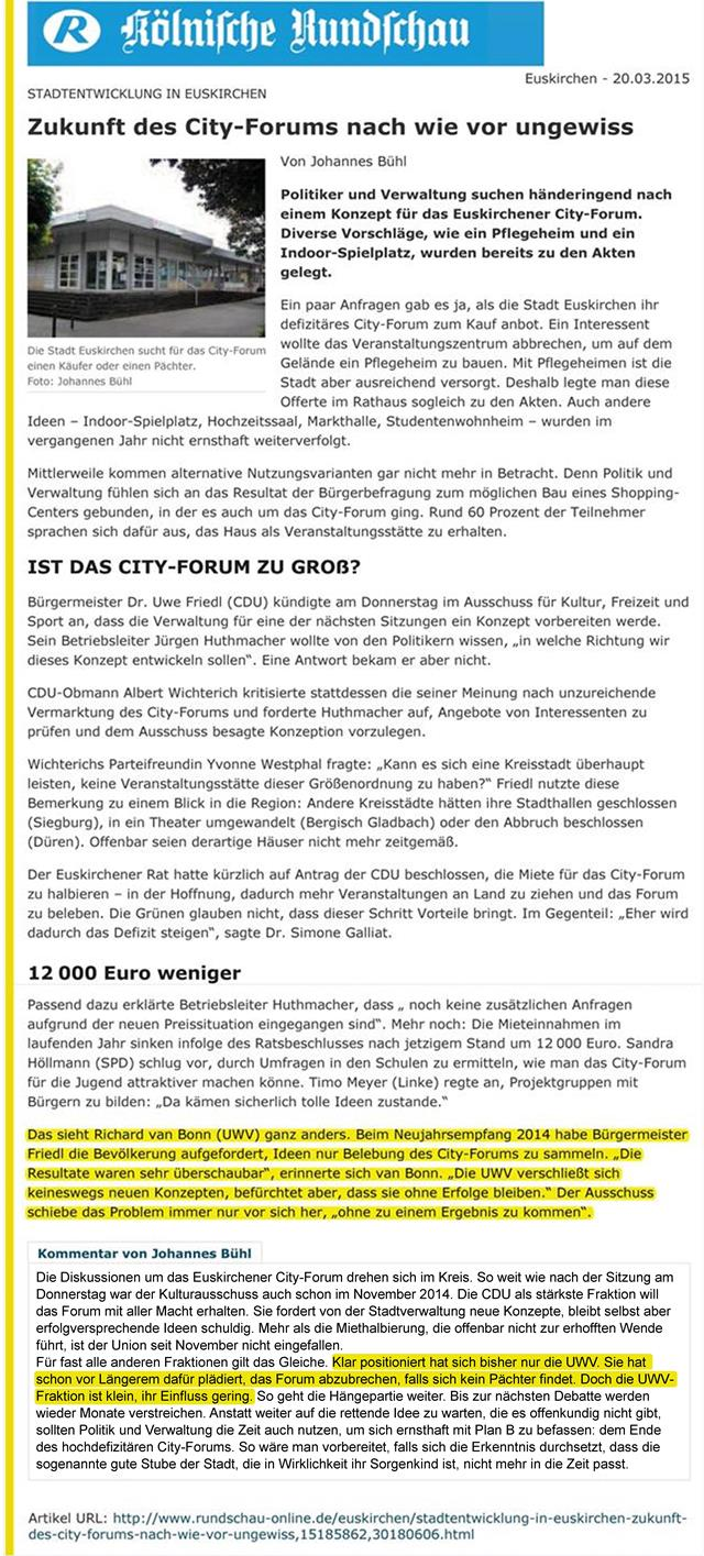 Zukunft des City-Forums nach wie vor ungewiss - KSTA
