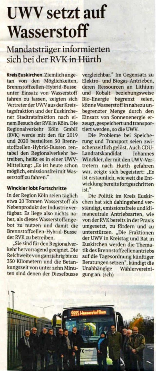 Wasserstoffbus Zeitungsartikel
